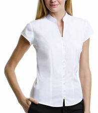Patternless Cap Sleeve Formal Tops & Shirts for Women