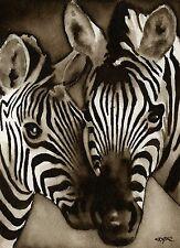 ZEBRA Watercolor ART Print Signed by Artist DJR