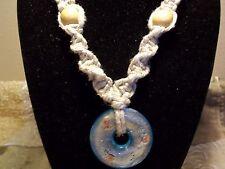 Handmade 18 inch Thick HEMP Choker with Glass ROUND Pendant HIPPIE Goth H-132