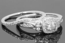 1.45 Ct Diamond Wedding Bridal Set Womens Engagement Ring 14K White Gold Over