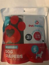 Pet Parents Washable Doggie / Dog Diapers 3-pack Diapers Black Unisex Size Small