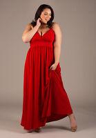 Plus Size Maxi Dress Empire Waist Sleeveless Polyester Blend Solid 1X-5X SWAK