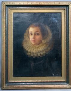 17thC Antique ENGLISH NOBILITY Young LADY in RUFF COLLAR Old PORTRAIT PAINTING