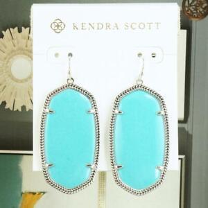NWOT Kendra Scott Danielle Earrings Turquoise Silver Tone