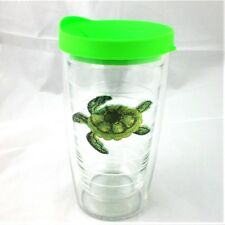 Tervis Tumbler 16Oz Green Sea Turtle Embroidered Emblem w Lid New Ocean Beach