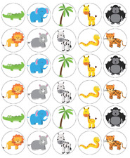30 x Zoo Animals Lions Zebra Cupcake Toppers Edible Wafer Paper Fairy Cake