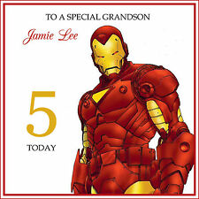 IRON MAN HANDMADE PERSONALISED Birthday Card Son Grandson any text