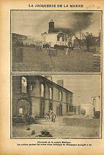 Incendie  Emeutes en Champagne Incendie Maison Bissinger à Ay 1911 ILLUSTRATION