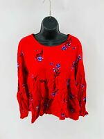 Pop Sugar Women's Top Blouse Floral Long Sleeve Scoop Neck Rayon Red Size Medium