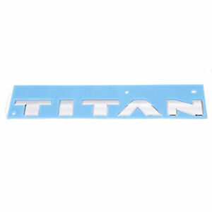 """OEM 2017 Nissan Titan Tailgate """"TITAN"""" Emblem in Chrome Rear NEW 93490-EZ00B"""