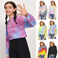 Kid Teen Girls Crop Tops Tie-Dye Hoodies Long Sleeve Pullover Sweatshirts Top UK