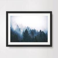 BLUE FOREST MIST LANDSCAPE ART PRINT Nature Photography Home Decor Wall Picture