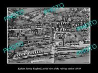 OLD LARGE HISTORIC PHOTO OF EGHAM SURREY ENGLAND, VIEW OF RAILWAY STATION c1930