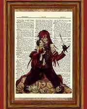 Grell Sutcliff Dictionary Art Print Anime Picture Kuroshitsuji Black Butler