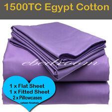 KB-Egypt Cotton 1500TC Fitted Flat Pillowcases Sheet Set-Grape/purple-RRP $660