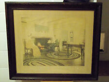 """Wallace Nutting  """"An Afternoon Tea"""" Signed, Small White Label is Reversed"""