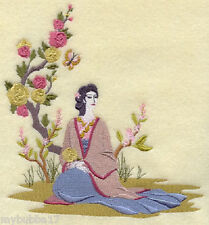 Chinoiserie Lady with Butterfly Panel Embroidered Set 2 Bathroom Hand Towels