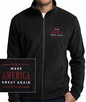 MAKE AMERICA GREAT AGAIN, TRUMP 2016 EMBROIDERED  BLACK MICRO FLEECE JACKET