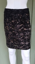 BIBA Black Gold Lace Pencil Skirt UK 8 or US 4