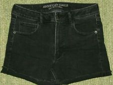 AMERICAN EAGLE Super Hi-Rise SHORTIE Black Denim Jean Frayed CutOff Shorts 8