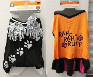 2-SET LARGE CHEERLEADER DOG COSTUMES Black Orange Tee Sports Football Dress NEW