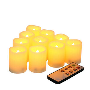 Set of 10 Battery Operated Flameless LED Votive Candles with Remote and Timer