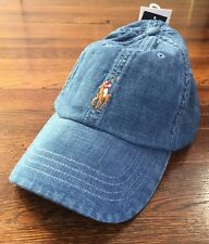 $40 NWT Polo Ralph Lauren Mens Chambray Denim Pony Logo Baseball Hat One Size