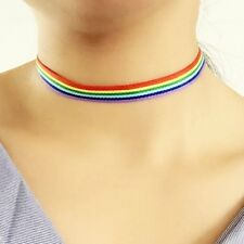 New LGBT Rainbow Gay Lesbian Pride Choker Necklace Lace Ribbon Collar