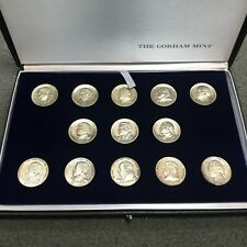 Set of 13 Patriot-Statesmen Sterling Silver Medallions by The Gorham Mint