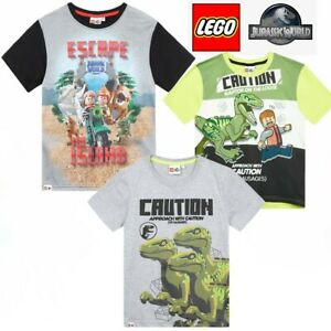 Boys Kids Lego Dinosaur Jurassic World Short Sleeve Tee T Shirt Top 3-10 years