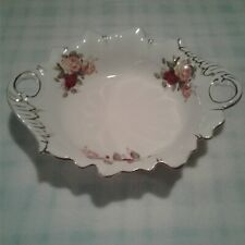 Le Rosee Porcelain White Flower Dish with a Gold Decor Trim