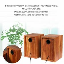 Vintage Wood Mini USB Charge 3.5mm Stereo Bass Desktop Speaker Loudspeaker Gift