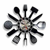 Vinyl Wall Clocks Kitchen Dining Art Watch Home Decoration Quartz Silent Watches