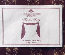 New 3 Raghu Fishtail Swags 25� wide X 145� Long Home Collections Wine/Tan Lined