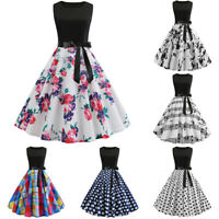 Womens 50s 60s Hepburn Vintage Rockabilly Evening Party Skater Swing Pinup Dress