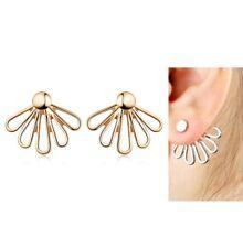 Urban Trend Gold Flower Leaf Feather Ray Ear Jackets Cuff Earrings Minimal Chic