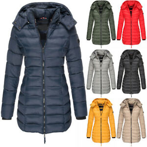 Womens Hooded Quilted Jacket Zip Up Padded Winter Warm Long Coat Puffer Outwear