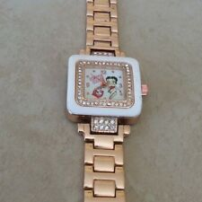 Betty Boop Rose Gold & White Square Crystal Watch Rose Gold Linked Band New!