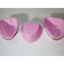 Juego de 3 Mini Molde para hornear silicona Corazón Fucsia Pasteles cupcake