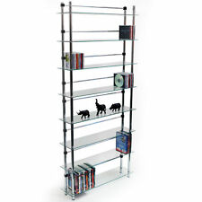 8 Tier DVD / Blu-ray / CD / Media Storage Shelves - Clear / Silver MS2408L-8T