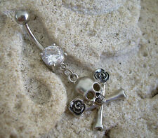 Belly Navel Ring 14g 316L DB1 Gothic Biker Rose Skull & Crossbones Clear Gem