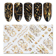 8 Sheets Holographic Gold 3D Nail Sticker Flower Star Circle Butterfly Foils
