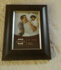 "Prinz Picture Frame Dk Walnut W/Matte Pewter Inner Border Holds 4""x6"" Photo Nwot"