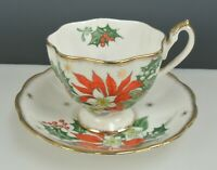 """Vintage Queen Anne """" Noel"""" Cup and Saucer Set England"""
