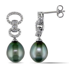 Amour Sterling Silver Tahitian Pearl and Diamond Earrings 9-9.5 mm