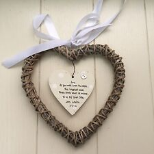 Shabby personalised Chic Gift For Bride From Bridesmaid Maid Honour Willow heart