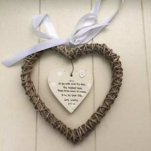 PERSONALISED Gift For Bride From Bridesmaid Maid Honour Willow heart WEDDING
