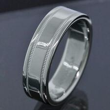 Tiffany & Co. Platinum PT950 6MM Wide Milgrain Wedding Band Ring Size 7.75