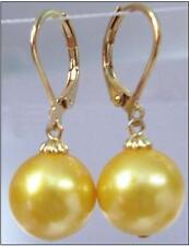 hot AAA 10-11mm natural Australian south sea yellow  pearl earrings 14K gold