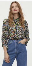 H&m Floral Chiffon Blouse Size Small 12 Puff Sleeve
